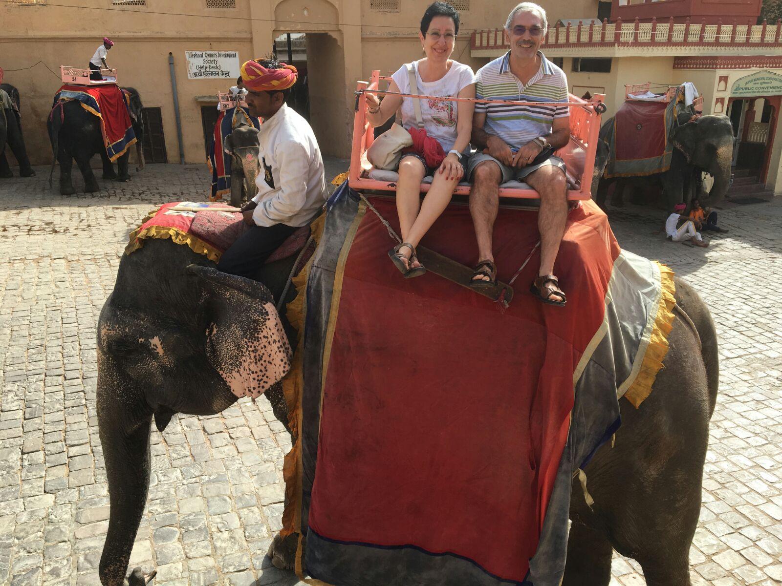 Isabel y Josep Anton a lomos de un elefante en India.