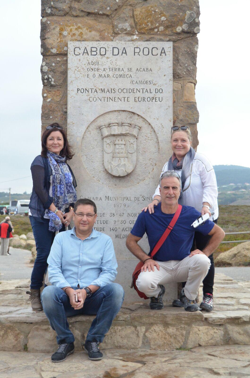 Montse, Afonso, Antonio y Pam en el Cabo de la Roca, Portugal