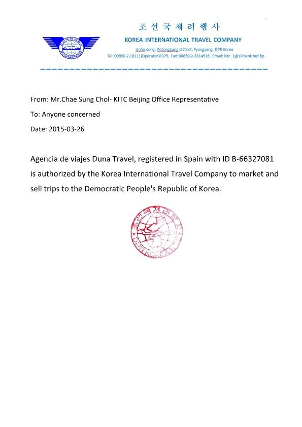 Autorización de las autoridades del país a nuestra agencia de viajes, para la venta de paquetes turísticos en Corea del Norte.